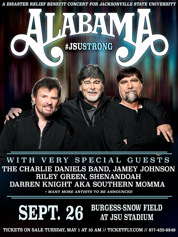 Country Music Legends ALABAMA Announce Benefit Concert for JSU on